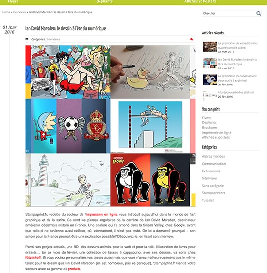 Interview avec illustrateur et dessinateur Ian David Marsden sur le blog Stampaprint